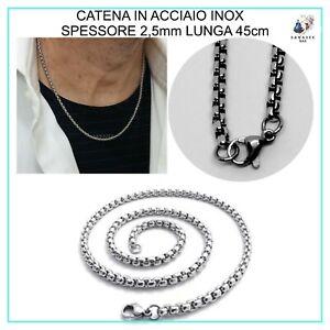 Collana Catenina 45cm in Acciaio Inox  Uomo Donna Maglia Rinforzata