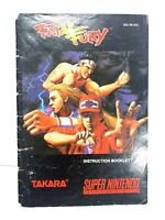 FATAL FURY SNES SUPER NINTENDO Instruction Manual Booklet Book ONLY