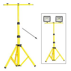 Twin Head Tripod Stand for Telescopic Halogen Floodlight Work Site LED Light UK