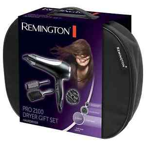 Remington Pro 2100 Gift Set –Hairdryer, Diffuser, Paddle Brush, Round Brush Cool
