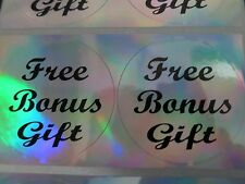 "100 Script Font Free Bonus Gift Holographic Silver Stickers 2"" Labels Prize Tags"