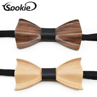 Handmade Men's Wooden Bow Tie Vintage Party Retro Wood Tuxed Necktie As Gift
