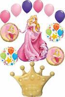 Sleeping Beauty Party Supplies Princess Crown Birthday Balloon Bouquet Decora...