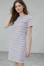 JOULES JERSEY SHORT SLEEVE T-SHIRT DRESS 'RIVIERA' CREAM RED BLUE STRIPE SIZE 16