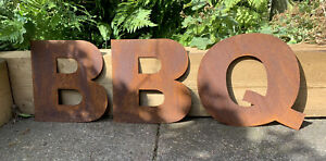 10 Inch Rust Letters BBQ Rustic Sign
