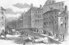 FRANCE. Coup. Barricade, Blvd Bonne Nouvelle, antique print, 1851