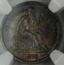 1876-CC Seated Liberty Dime, NGC MS-63 Toned, *Gem BU Coin*