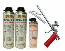 Set Schaumpistole Metall + 2x500ml Giga XXL Pistolenschaum + 500ml Reiniger PF3