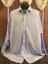 Men's EUC PROPER CLOTH Sz 21/54 Blue Pinstriped LS Button Up Dress Shirt