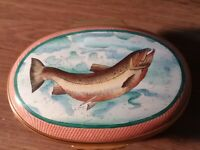 HALCYON DAYS ENAMEL TRINKET PILL BOX SALMON/TROUT FISH