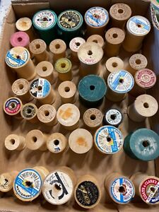 Wooden spools small - box Of 43 - for Use In Crafts Or Display- sewing vintage