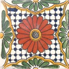 C#023) MEXICAN TILES CERAMIC HAND MADE SPANISH INFLUENCE TALAVERA MOSAIC ART