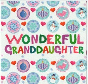 'WONDERFUL GRANDDAUGHTER' CHRISTMAS GREETING CARD - GLITTERY - QUALITY  FREE P&P