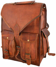Real Genuine Leather Backpack men Fashion retro Style Vintage New School Bag