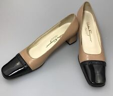 Salvatore Ferragamo Cap Toe Pumps Sz 7.5 AAA Beige Black Wear To Work Marisa