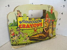 crayon boxed set vintage KIDDIECOLOR 1930s Old Woman in Shoe Peter-Austin diecut