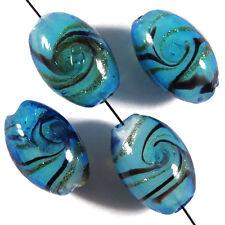 Lot de 4 Perles ovales en verre Lampwork Murano 10 x 16mm Bleu Turquoise