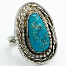 Antique 1940 Sterling Silver Native Pawn Navajo Gleeson Turquoise Ring Sz 7.75