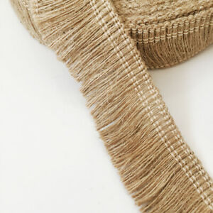 Natural HESSIAN Tassels Trim Rustic Chic Wedding Tropical Party Craft Cake Decor