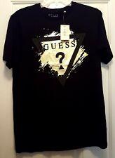 MENS GUESS Crewneck BLACK GOLD FOIL T-SHIRT SIZE M or L New w/tag