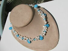 BAROQUE PEARLS SLEEPING BEAUTY TURQUOISE BRIOLETTE BEADS WOVEN TOGGLE NECKLACE