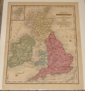 1844 BRITISH ISLES ONLEYS SCHOOL GEOGRAPHY MAP BY D ROBINSON