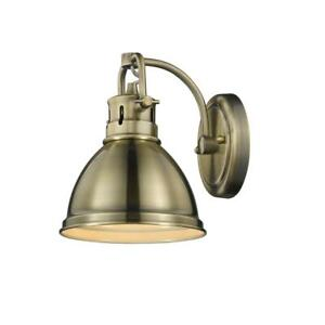 Duncan AB 1-Light Aged Brass Bath Light with Aged Brass Shade by Golden Lighting