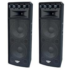 "NEW 2000w Dual 15"" DJ Speakers PAIR(2).Karaoke.Fifteen inch.PA.Live.Tops.party"