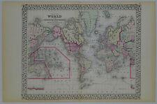 3 Antique Maps,1872, East & West Hemispheres & Mercator World. S A Mitchell Jr