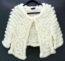 BCBG MAXAZRIA Women's Sz XS Rabbit Fur Knit Wrap Ivory