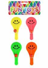 4 Happy Face Kunststoff Paddel Schläger & Bälle-Spielzeug Loot/Partypack Kinder