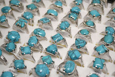 wholesale jewelry lots 10pcs women's turquoise silver plated rings