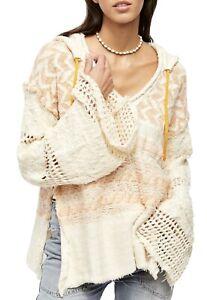 Free People Womens Coastline Orange Knit Hooded Sweater Top L Large NWT $198