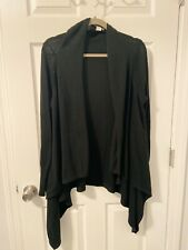 Black Lightweight Casual Cardigan Sweater Top Womens Medium