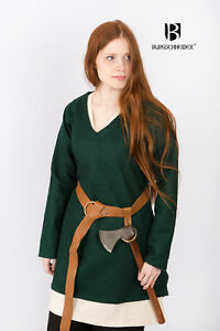Medieval Tunic Wool Women Viking Warrior /Larp - Green By Burgschneider