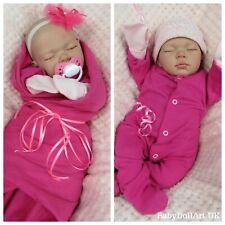 "Reborn Baby girl Doll, 18"" sleeping baby girl Sweet Pea - HANDMADE by UK Artist"