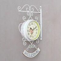 Cockerel Bell Wall Clock Garden Home Patio Watch Double Sided Decorations Clocks