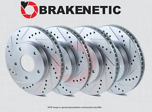 [FRONT + REAR] BRAKENETIC SPORT Drilled Slotted Brake Disc Rotors BSR74945