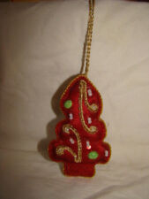 RED SEQUINED AND BEADED HANGING CHRISTMAS TREE DECORATION HANDMADE INDIA