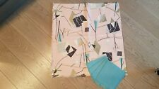 Vtg MCM Eames Reed Hand Crafts Barkcloth Table Cloth, Napkins, Pink Aqua New