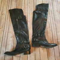 Sam Edelman Size 6.5M Paulina Over the Knee Black Leather Boots Buckles Moto