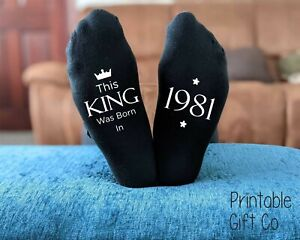 This King 1981 - 40th Birthday Socks -  Printed Men's Novelty Birthday GIFT