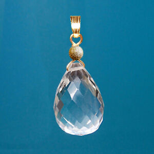 16x12mm GENUINE CLEAR ROCK CRYSTAL BRIOLETTE / DROP 9k / 9ct YELLOW GOLD PENDANT