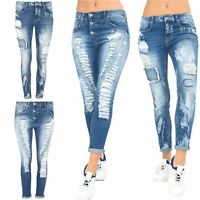 Ladies Womens Skinny Fit Denim Distressed Zip Up Ripped Zip Pockets Faded Jeans