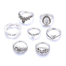 7Pcs/Set Vintage Bohemian Rings Set Gemstone Knuckle Rings Midi Rings Jewelry