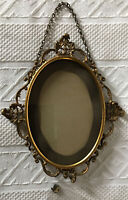 "VTG Oblong FANCY hanging Metal Picture Frame Ornate Filagree 9 x 8""  estate"