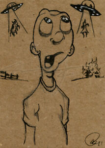 NEW! ORIGINAL WarrenS Art Card ACEO UFO Alien Abduction Cartoon Sketch Artwork