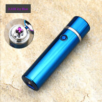 Electric Dual Arc Plasma USB Recharge Flameless Windproof Lighter JL108 Icy Blue