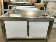 Commercial Catering Kitchen Stainless Sink Cupboard, Single bowl,Left Hand 1.2m