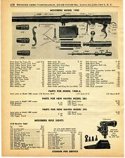 1960 Print Ad of Mossberg Model 190D Shotgun Parts List & Rifle Sights